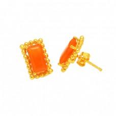Handmade Designer Carnelian Rectangle Shape Gemstone Gold Plated Stud Earrings