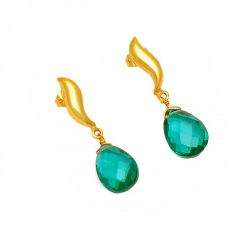Briolette Pear Apatite Gemstone 925 Sterling Silver Gold Plated Dangle Earrings