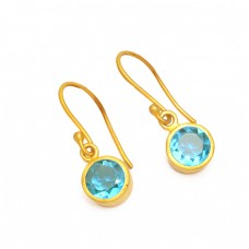 Faceted Round Blue Topaz Gemstone 925 Sterling Silver Gold Plated Dangle Earrings