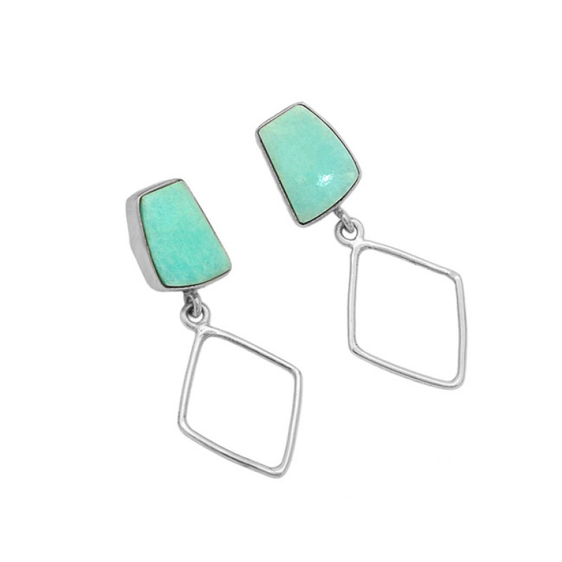 Cabochon Larimar Gemstone 925 Sterling Silver Gold Plated Stud Dangle Earrings