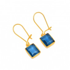 Blue Quartz Octagon Shape Gemstone 925 Sterling Silver Gold Plated Hoop Earrings
