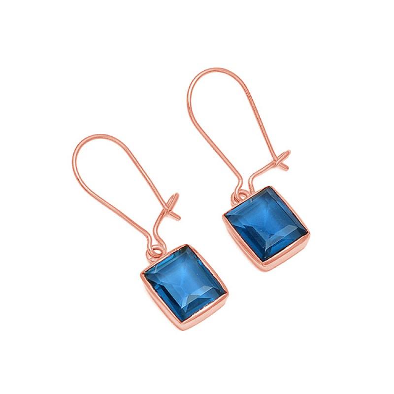 Blue Quartz Octagon Shape Gemstone 925 Sterling Silver Gold Plated Hoop Earrings
