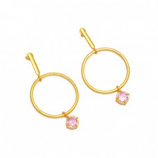 925 Sterling Silver Pink Color CZ Gemstone Gold Plated Hoop Dangle Earrings