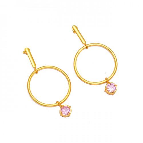 925 Sterling Silver Pink Color CZ Gemstone Gold Plated Hoop Dangle Earrings