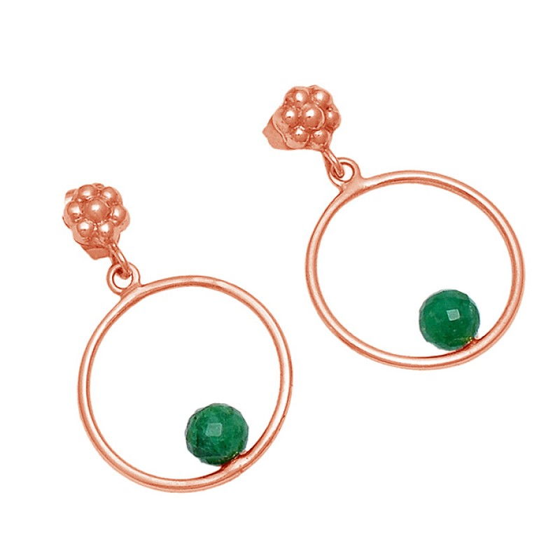 925 Sterling Silver Emerald Round Balls Shape Gemstone Gold Plated Dangle Stud Earrings