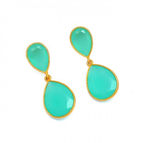 Pear Shape Chalcedony Gemstone 925 Sterling Silver Gold Plated Stud Earrings
