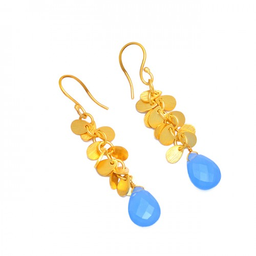 Stylish Handmade Designer Blue Chalcedony Gemstone 925 Sterling Silver Gold Plated Earrings