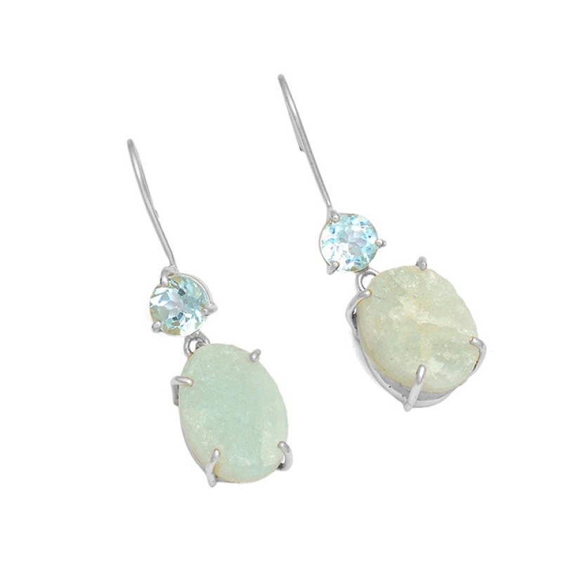 Aquamarine Blue Topaz Gemstone 925 Sterling Silver Gold Plated Earrings