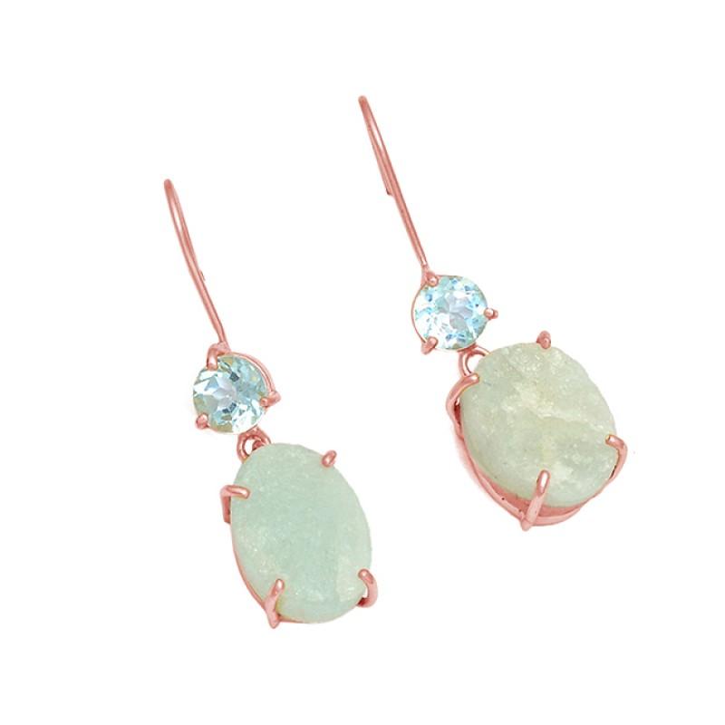 Aquamarine Blue Topaz Gemstone 925 Sterling Silver Gold Plated Earrings