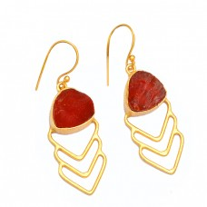 Raw Material Red Onyx Rough Gemstone 925 Sterling Silver Gold Plated Earrings