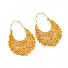 Filigree Designer Plain 925 Sterling Silver Gold Plated Dangle Hoop Earrings