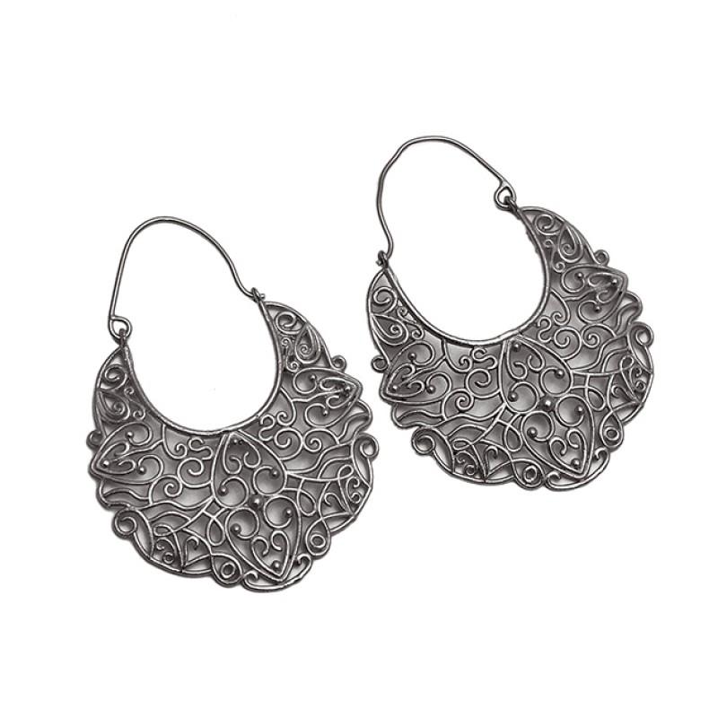 Filigree Designer Plain 925 Sterling Silver Gold Plated Dangle Hoop Earrings