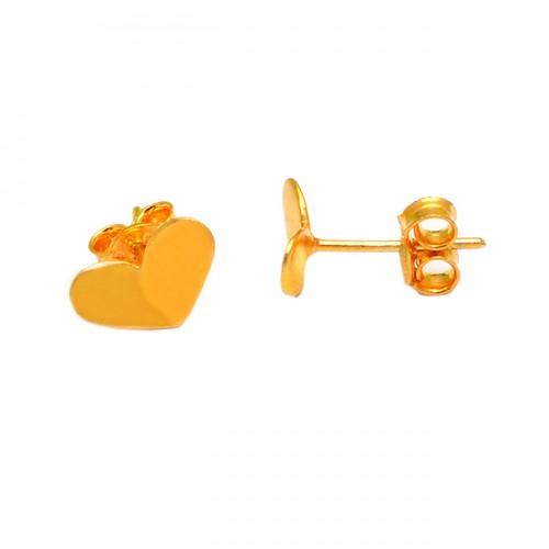 Handmade Designer Plain Heart Shape 925 Sterling Silver Gold Plated Stud Earrings