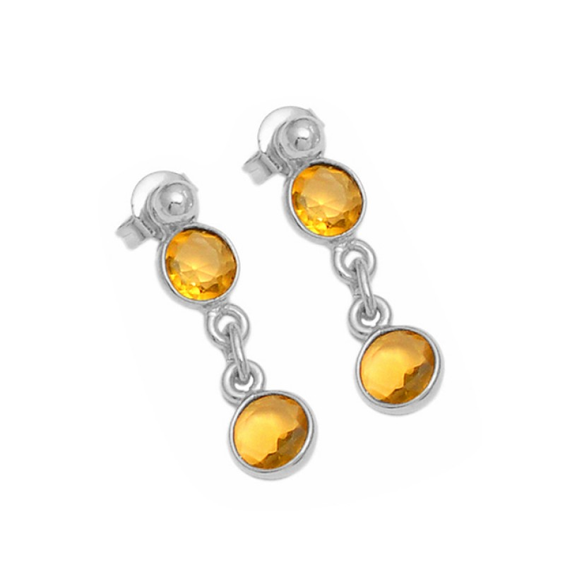 Round Shape Citrine Gemstone 925 Sterling Silver Gold Plated Dangle Stud Earrings