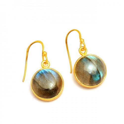 Bezel Setting Labradorite Round Shape Gemstone 925 Sterling Silver Gold Plated Earrings