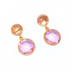 Round Shape Pink Quartz Gemstone 925 Sterling Silver Gold Plated Stud Earrings