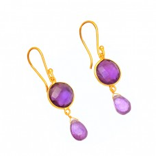 Amethyst Round Pear Shape Gemstone 925 Sterling Silver Gold Plated Dangle Earrings