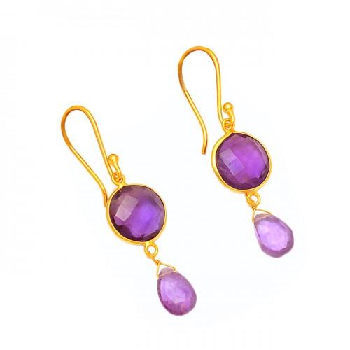 Amethyst Round Pear Shape Gemstone 925 Sterling Silver Gold Plated Dangle Earrings