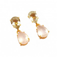 Faceted Pear Shape Green Amethyst Rose Quartz Gemstone Stud Gold Plated Earrings