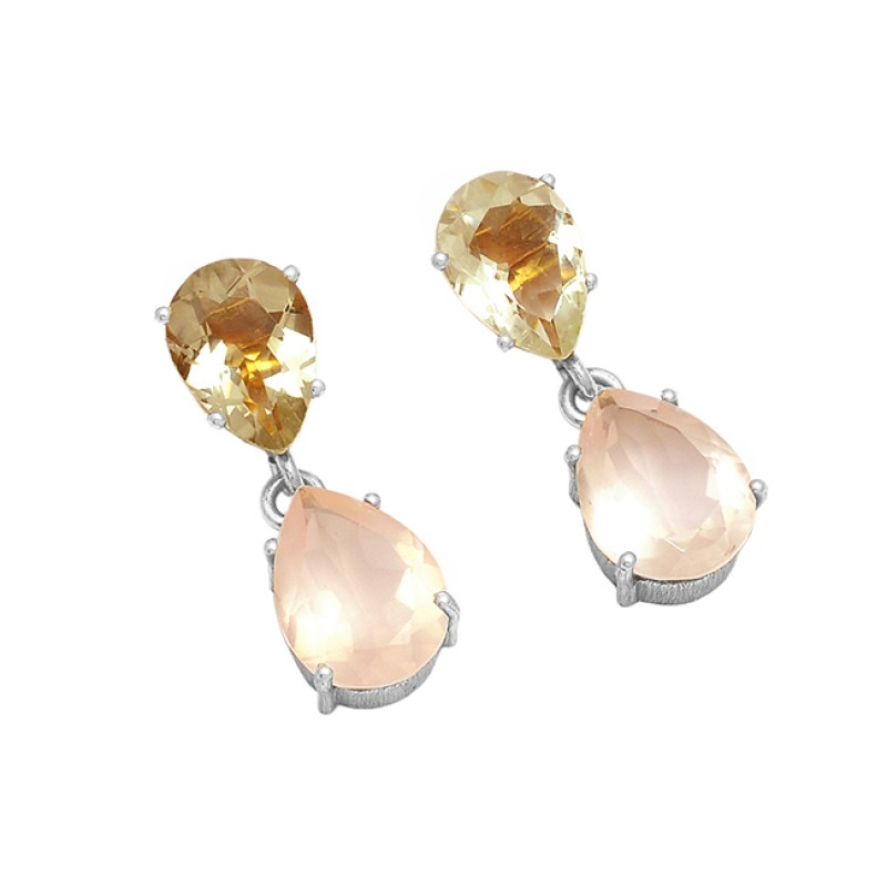 Faceted Pear Shape Green Amethyst Rose Quartz Gemstone Stud Gold Plated Earrings