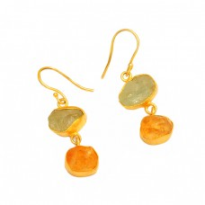 925 Sterling Silver Aquamarine Citrine Rough Gemstone Gold Plated Earrrings