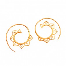 925 Sterlig Silver Plain Handmade Designer Gold Plated Unique Hoop Earrings