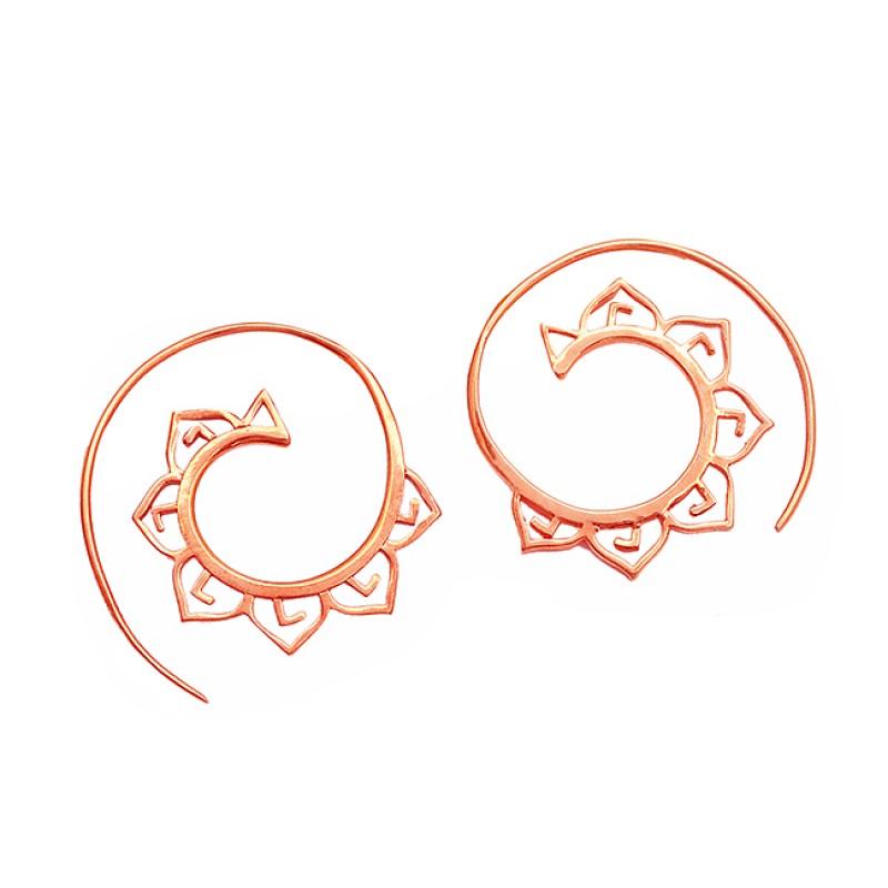925 Sterlig Silver Plain Handmade Designer Gold Plated Unique Hoop Earrings