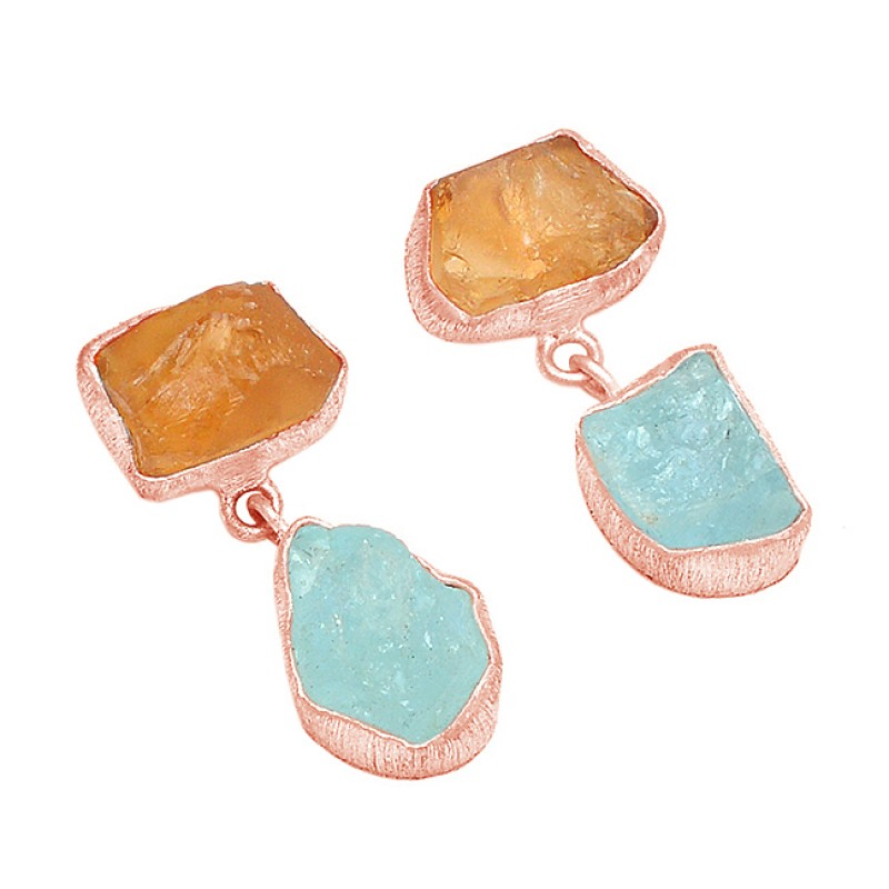 925 Sterling silver Aquamarine Citrine Rough Gemstone Gold Plated Dangle Earrings