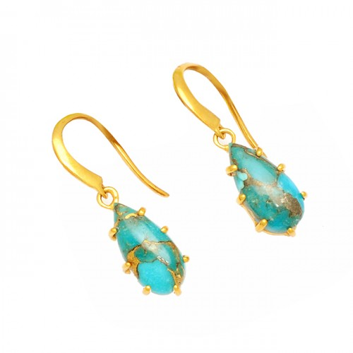 Blue Copper Turquoise Cabochon Pear Gemstone 925 Silver Gold Plated Dangle Earrings