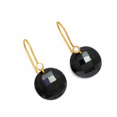 Black Onyx Cubic Zirconia Gemstone 925 Sterling Silver Gold Plated Earrings