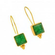 Square Shape Emerald Gemstone 925 Sterling Silver Fixed Ear Wire Earrings