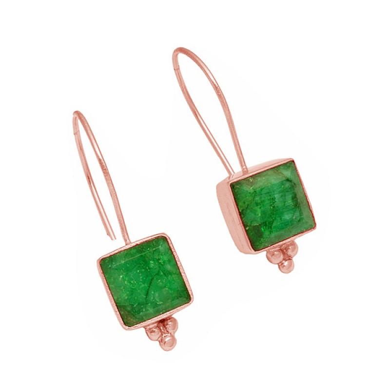 Square Shape Emerald Gemstone 925 Sterling Silver Fixed Ear Wire Earrings
