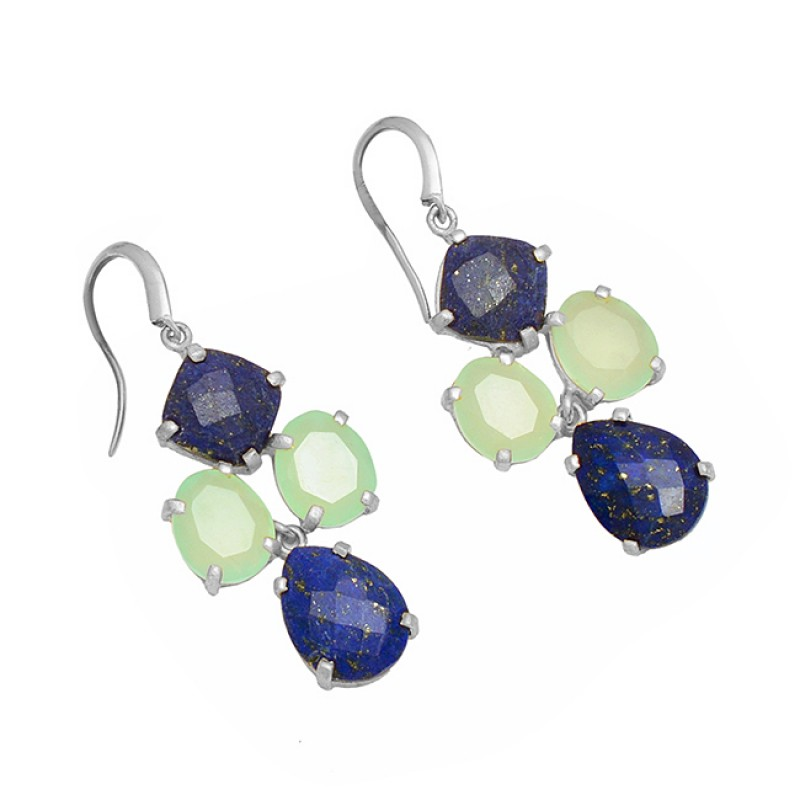Lapis Lazuli Chaledony Gemstone 925 Sterling Silver Gold Plated Dangle Earrings