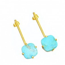 Cushion Shape Turquoise Gemstone 925 Strling Silver Handmade Long Stud Earrings