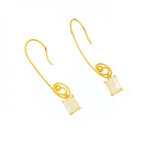 925 Sterling Silver Octagon Shape Mooonstone Gold Plated Dangle Hoop Earrings