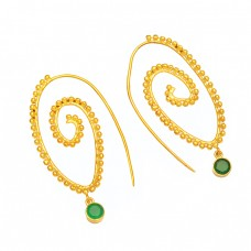 925 Sterling Silver Green Onyx Round Gemstone Gold Plated Designer Hoop Earrings