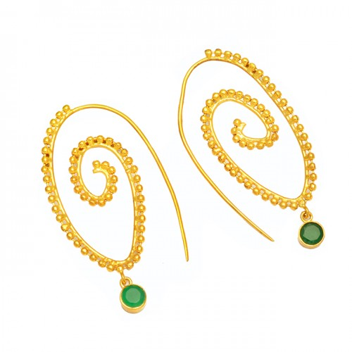 925 Sterling Silver Green Onyx Round Gemstone Gold Plated Designer Hoop Earrings