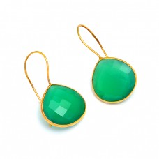 Briolette Heart Shape Green Onyx Gemstone 925 Sterling Silver Gold Plated Earrrings