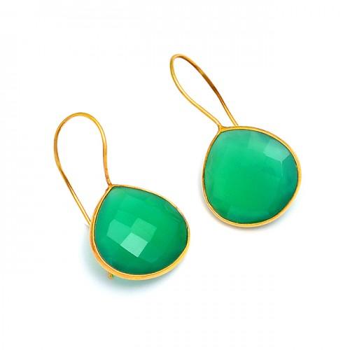 Briolette Heart Shape Green Onyx Gemstone 925 Sterling Silver Gold Plated Earrrings