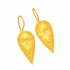 Fashionable Plain Handmde Designer 925 Sterling Silver Gold Plated Earrings