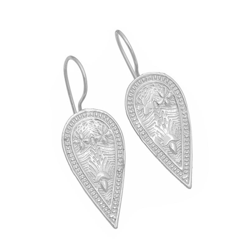 Fashionable Plain Handmde Designer 925 Sterling Silver Gold Plated Earrings