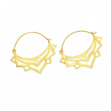 Filigree Style Handmade Plain 925 Sterling Silver Gold Plated Dangle Hoop Earrings