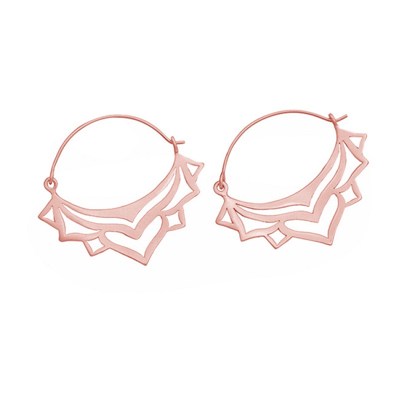 Filigree Style Handmade Plain 925 Sterling Silver Gold Plated Dangle Hoop Earrings