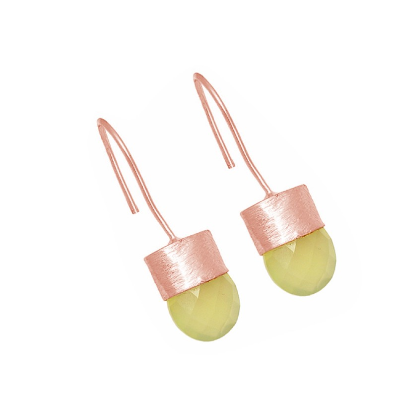 Oval Shape Chalcedony Gemstone 925 Sterling Silver Gold Plated Fixed Ear Wire Earrings