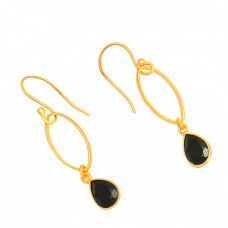 925 Sterling Silver Pear Shape Black Onyx Gemstone Gold Plated Dangel Earrings