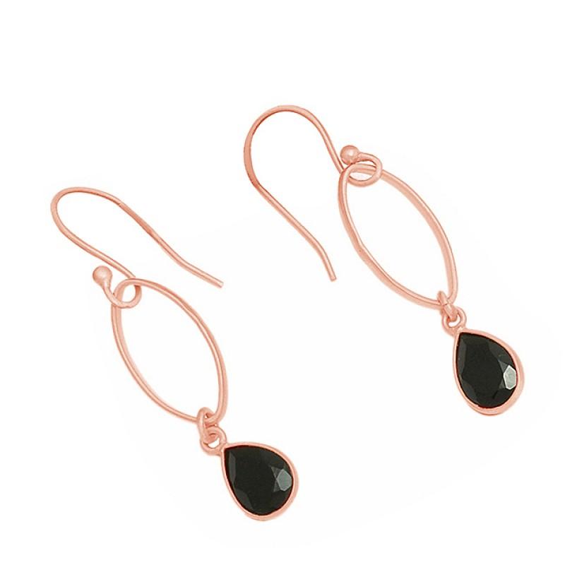 925 Sterling Silver Pear Shape Black Onyx Gemstone Gold Plated Dangel Earrings