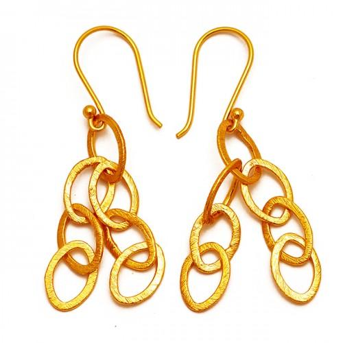 Handmade Designer Plain 925 Sterling Silver Gold Plated Dangle Earrings