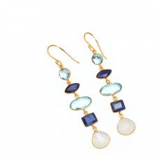 Topaz Moonstone Sapphire Gemstone 925 Sterling Silver Gold Plated Earrings