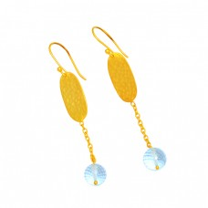 925 Sterling Silver Round Balls Shape Blue Topaz Gemstone Gold Plated Earrings