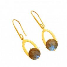 925 Sterling Silver Labradorite Round Shape Gemstone Gold Plated Dangle Earrings